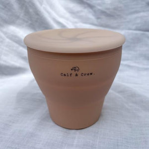 Calf & Crew - Collapsible Silicone Snack Cup With Lid Apricot