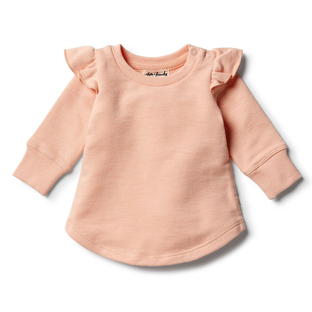 Wilson & Frenchy - Tropical Peach Speckle Ruffle Sweat Top