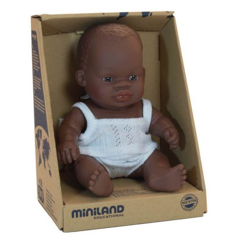 Miniland - Baby Girl Doll African 21cm