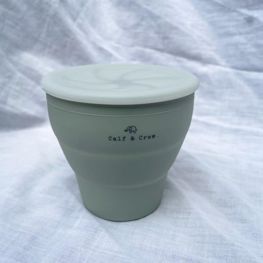 Calf & Crew - Collapsible Silicone Snack Cup With Lid Sage