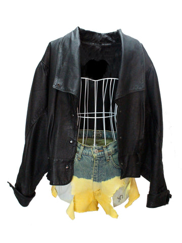 Black Leather Jacket with Turned-Up Cuffs