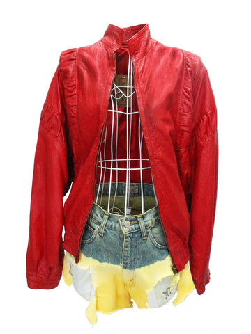 Cherry Red Leather Jacket with Ruched Panels