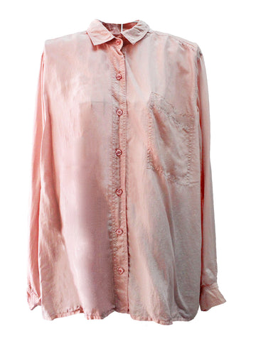 1980s Blush Pink Silk Shirt