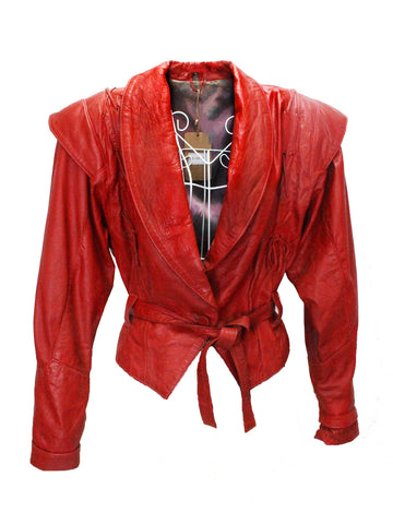 Crimson Red Leather Jacket with Polka-Dot Iridescent Lining
