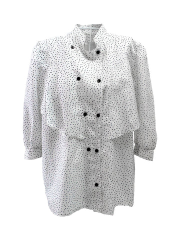 1950s Ivory Polka-Dot Ruffled Blouse