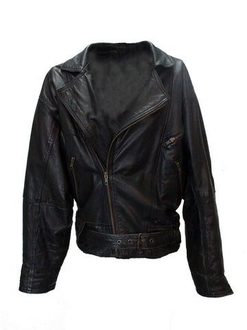 Black Leather Jacket with Geometric Print Lining