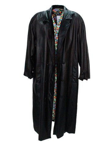 Long Black Leather Coat with Pinstripe Lining
