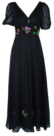 Black Deep V Maxi Dress