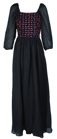 Black Maxi With Colourful Pleat