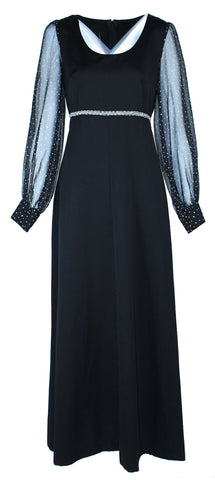 Black Maxi With Transparent Organza Sleeve