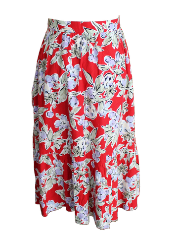 Bold Red Floral Midi Skirt