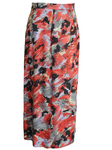 Pencil Skirt In Bold Red Floral