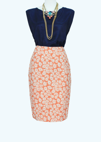 The 40s Pencil Skirt In Bright Orange