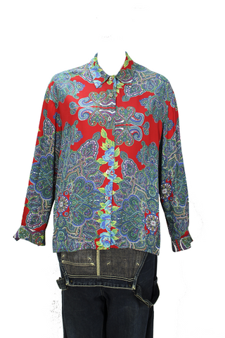 Pasley Red & Green Sleeved Blouse