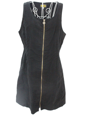 Velvet Front Zipper Dress in Black
