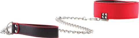 Reversible Collar With Leash (Red)