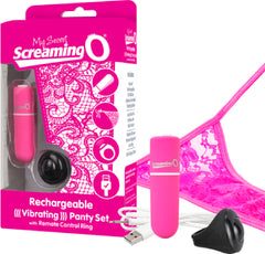 Rechargeable Vibrating Panty Set (Pink)