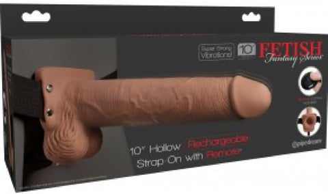 "10"" Hollow Rechargeable Strap-On Remote (Tan)"