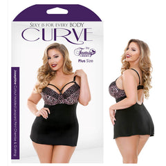 Curve Josephine Cutout Molded Leopard Print Chemise & G-String