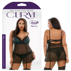 Curve Halle Lace Babydoll with Garters & Matching Panty