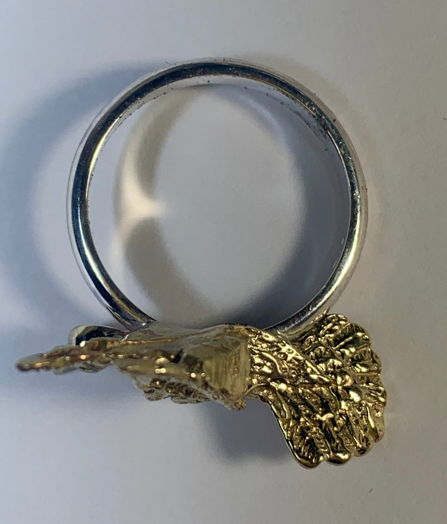 Golden Hummingbird Ring