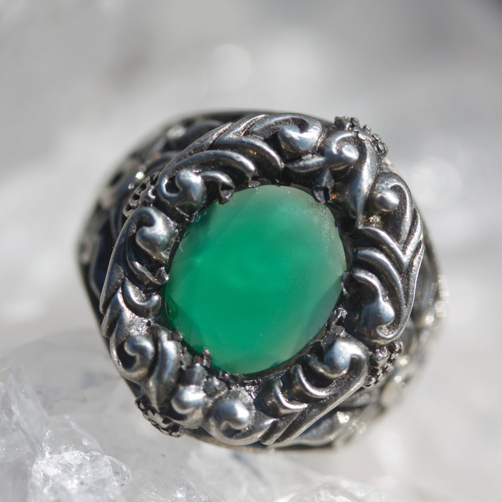 Sticks and Stones Green Agate Ring SALE