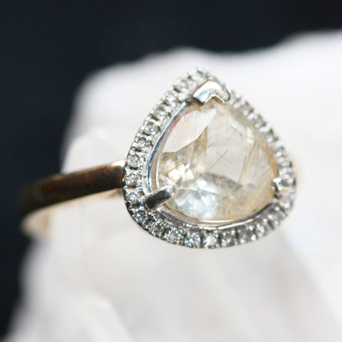 Diamond and Rutile Quartz 9ct Gold Ring SALE