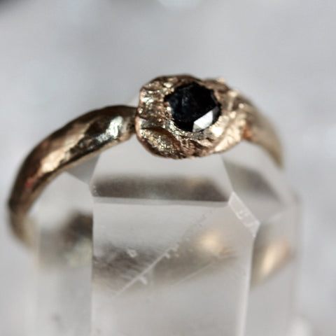 9ct black diamond pinky ring SALE