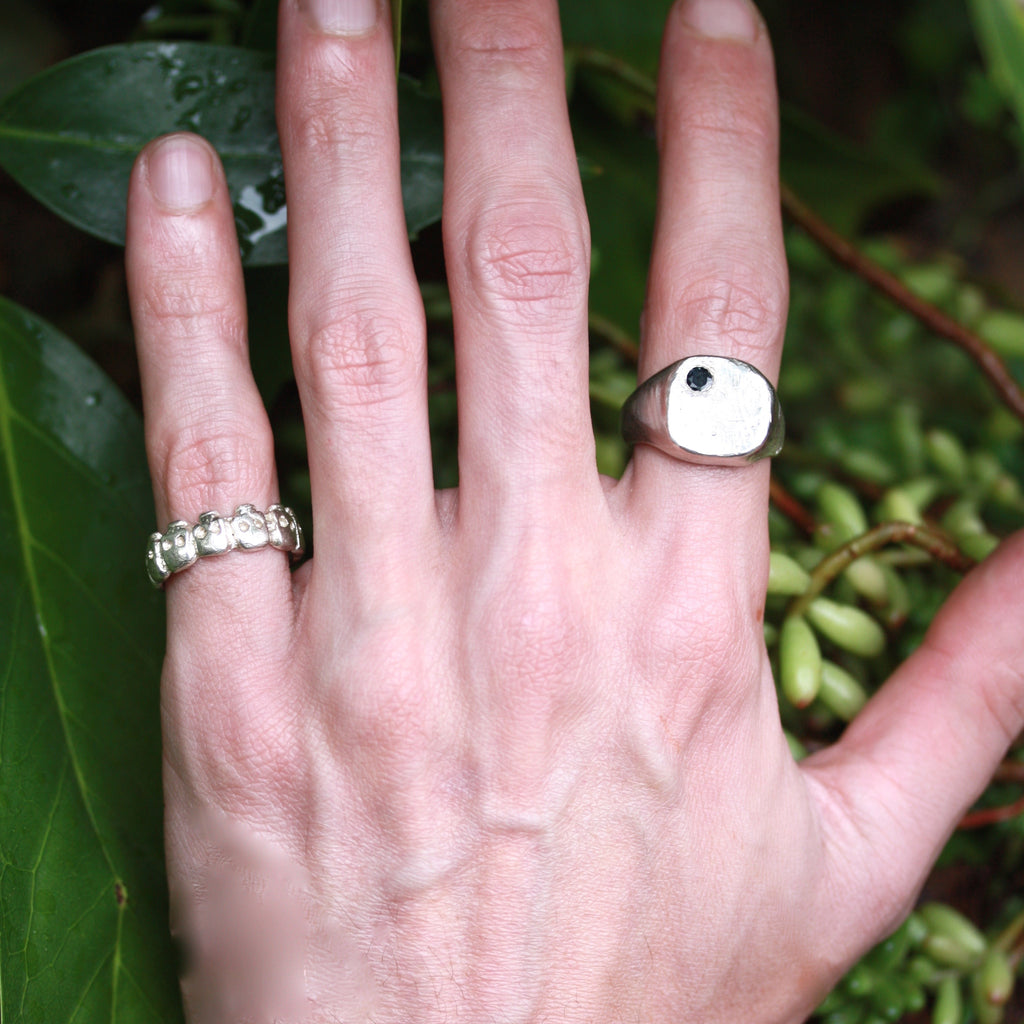 A Wabi Sabi with Sapphire Ring ( Unisex)