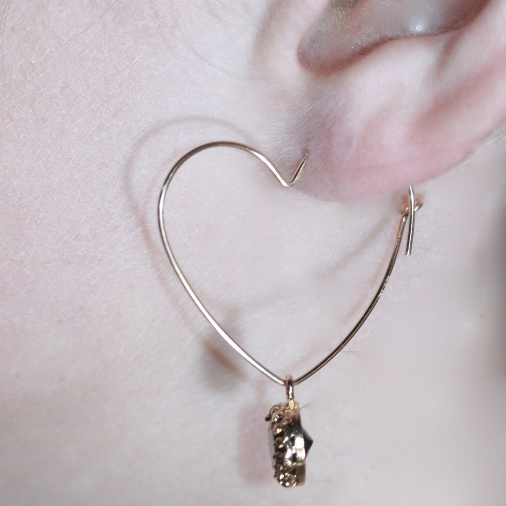 1 A A 14ct gold filled heart earwires and Smoky Quartz