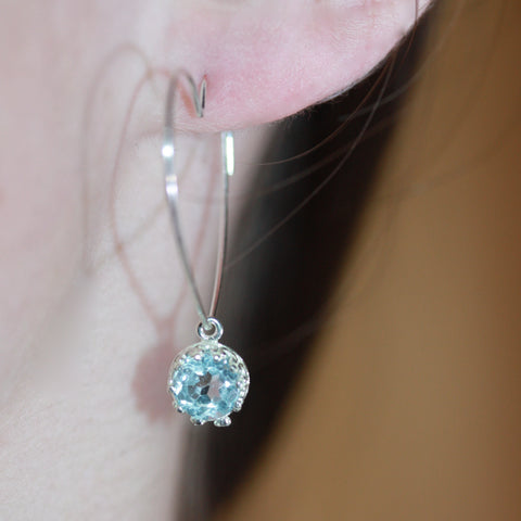 Day 15 - Heart ear wires with blue topaz  30 daily delights SALE earrings