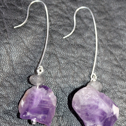 Day 19 Amethyst and grey quartz - Sterling Silver