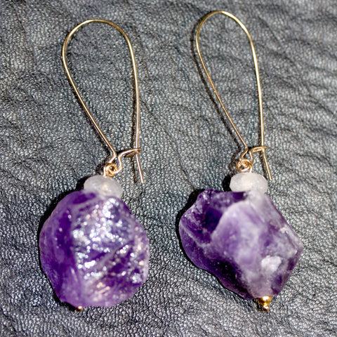 Day 19 Amethyst and Grey Quartz  - Gold Plated hooks