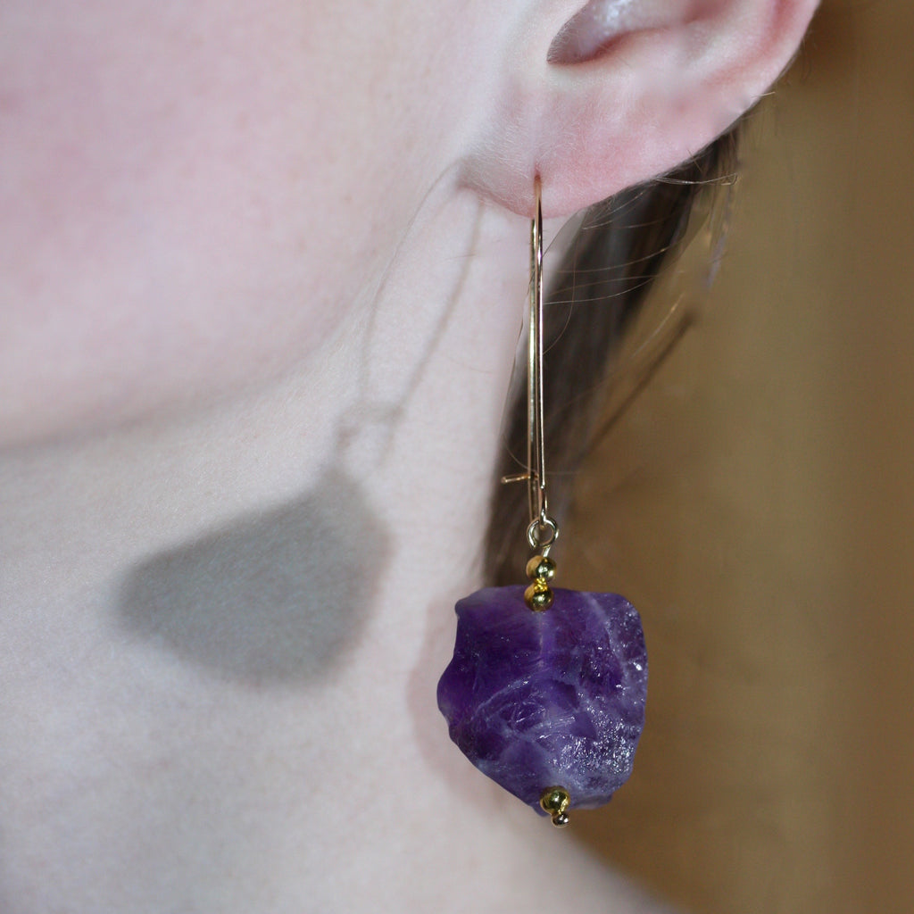 Day 19 Amethyst Earrings  - Gold Plated hooks