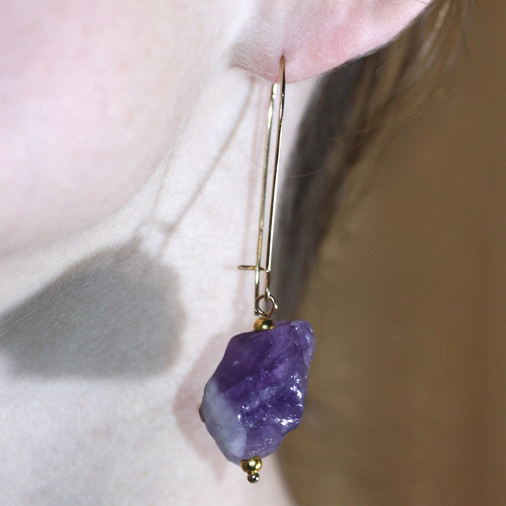 Day 19 Amethyst Earrings  - 14ct gold filled hooks