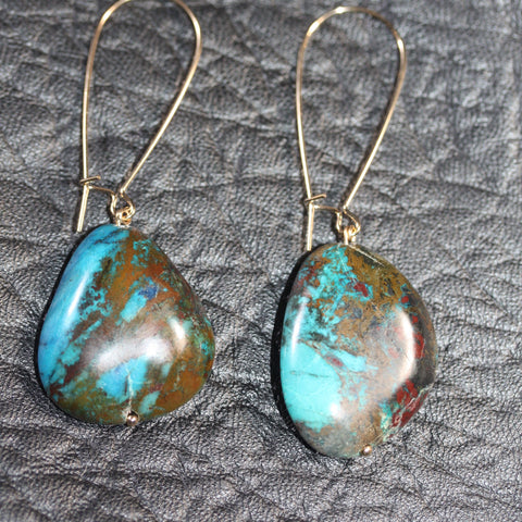 Day 22 Azurite Earrings  - 14ct gold filled hooks