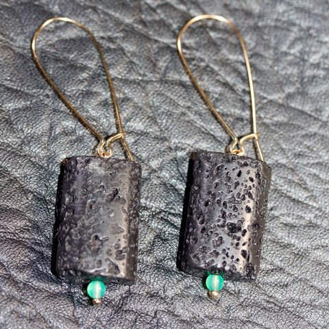 Day 22 Lava and Green Agate  Earrings  - Gold Plated Hooks