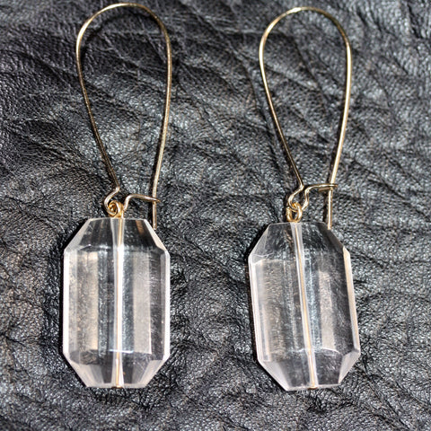 Day 22 Faceted Clear Quartz Earrings  - Gold plated hooks