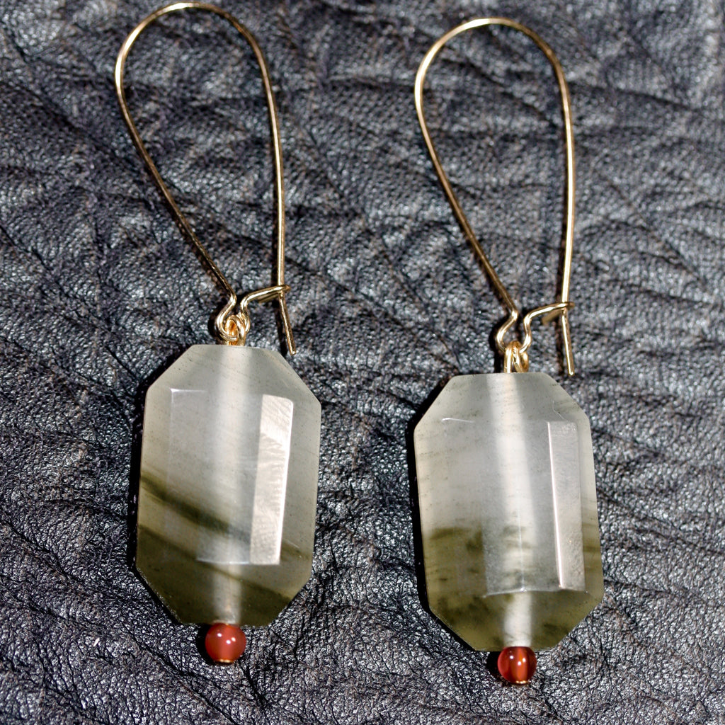 Faceted Prehnite and carnelian bead Earrings  - 14ct gold filled  hooks