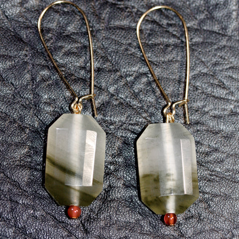 Day 22 Facet Prehnite and carnelian bead Earrings  - Gold plated hooks
