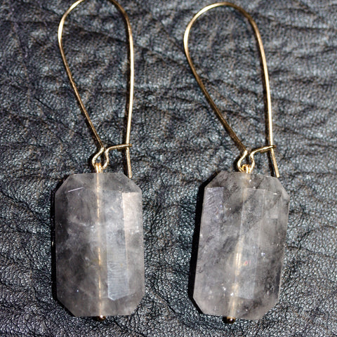 Day 22 Faceted Grey Quartz Earrings  - Gold plated hooks