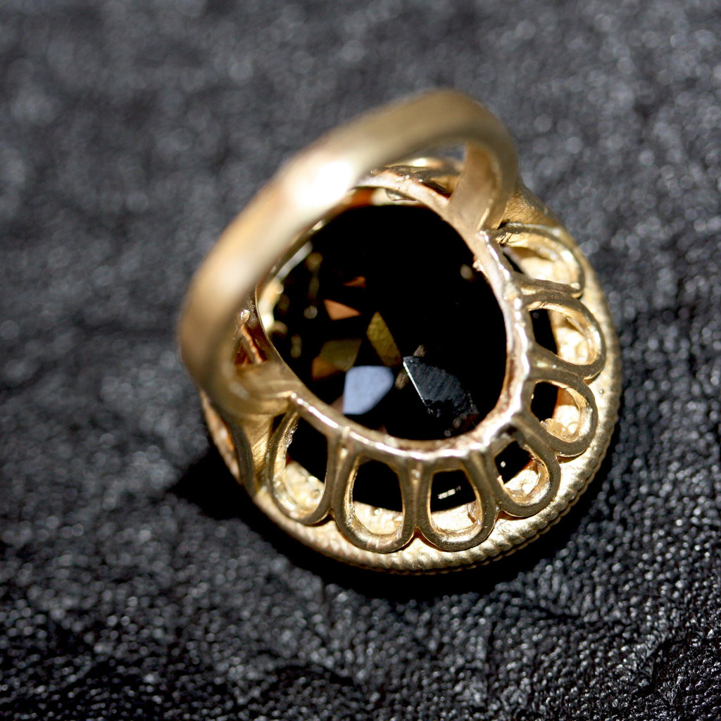 Golden Black Large Tudor Throne Ring