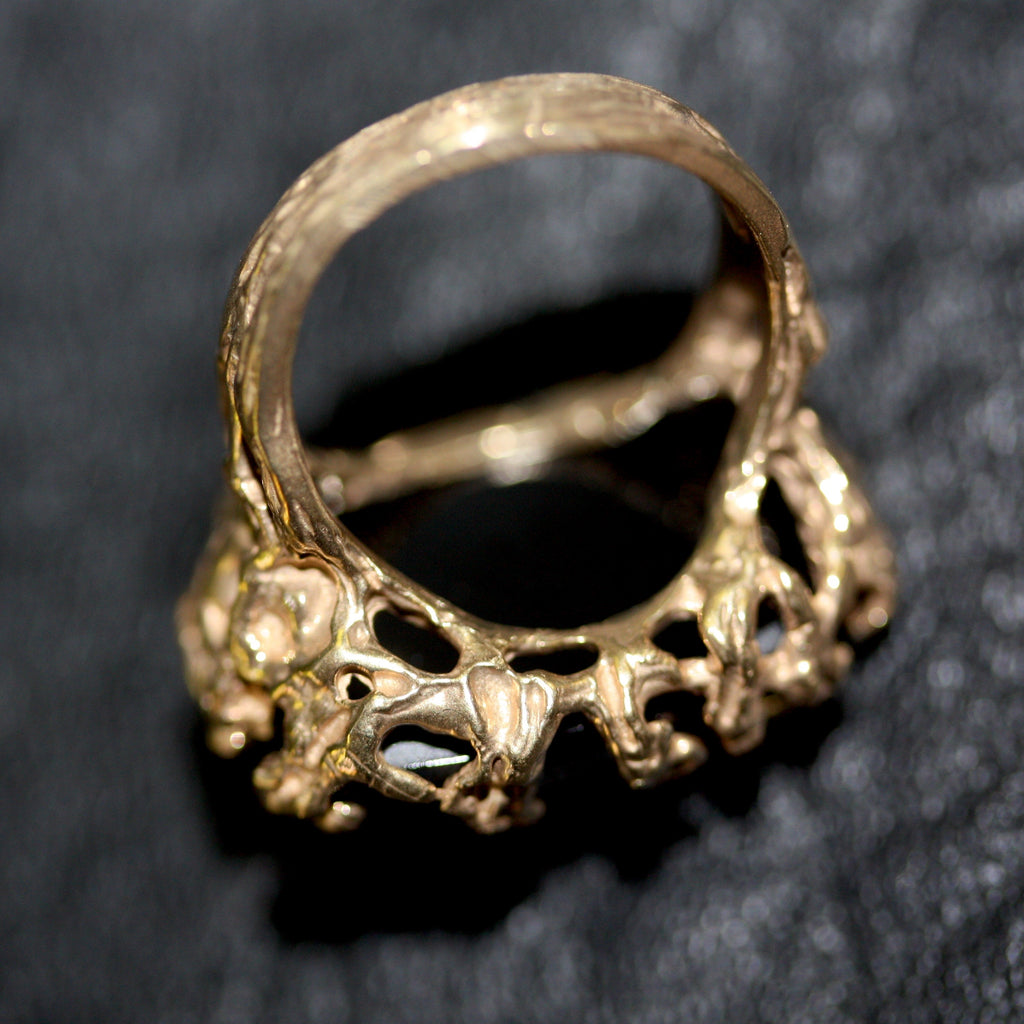 Golden Bronze  Black Seaweed ring