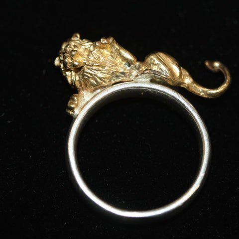 Golden Lion Charm Ring