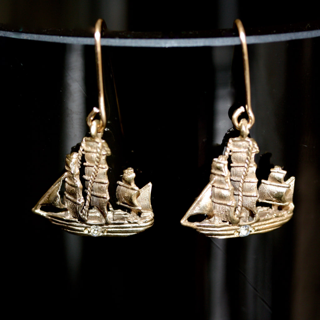 Golden Moon Pirate Ship Charm Earrings