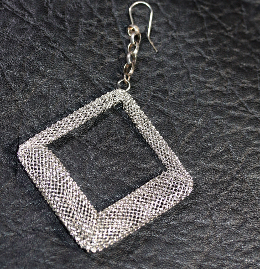 Sterling silver hook n Chain Diamond MESH Earrings - SALE
