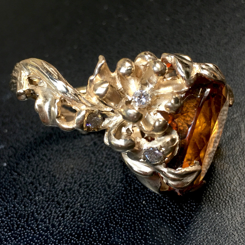 8T Gold Citrine and Diamond Chrissy Ring