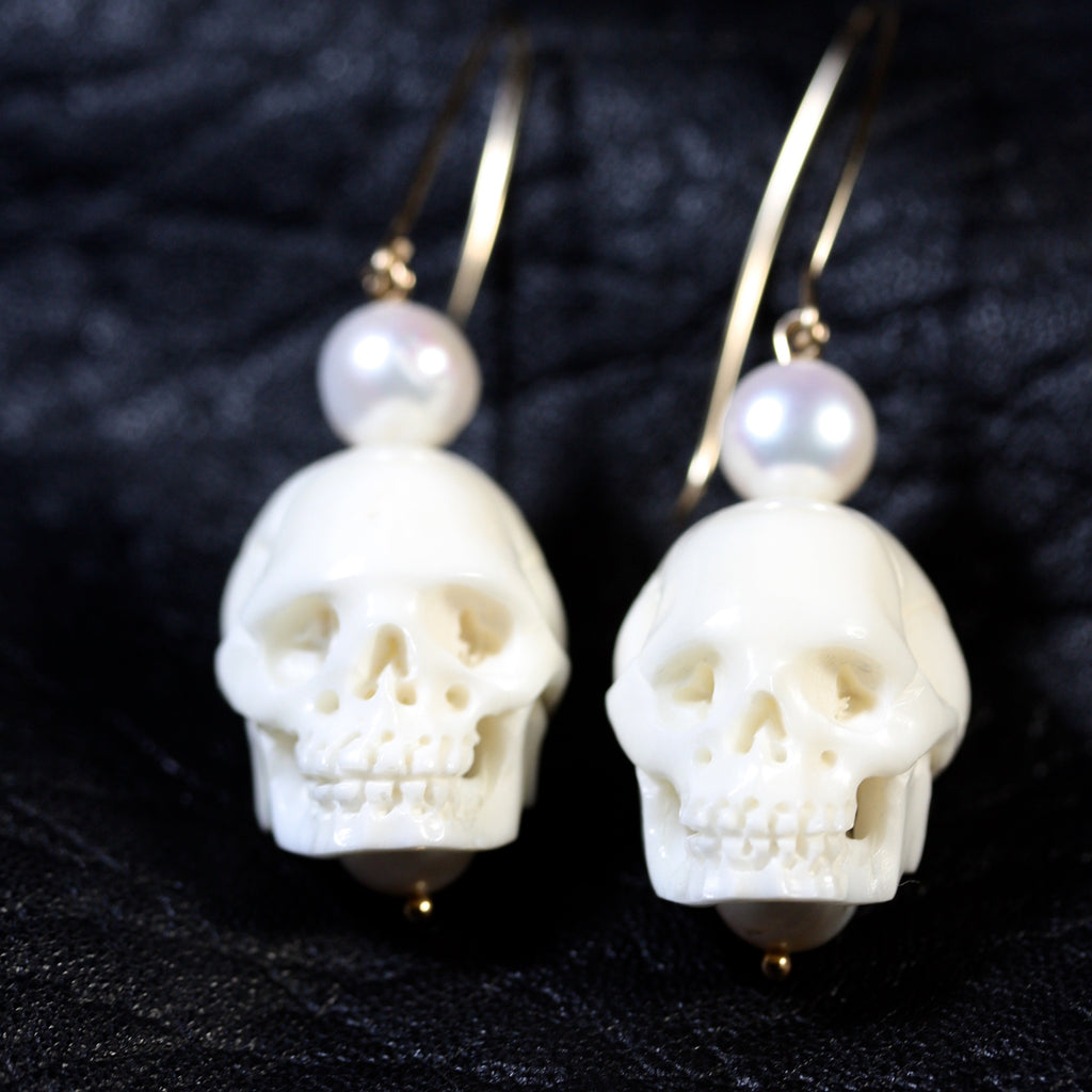 Gold filled hooks skull Pearl Earrings - SALE