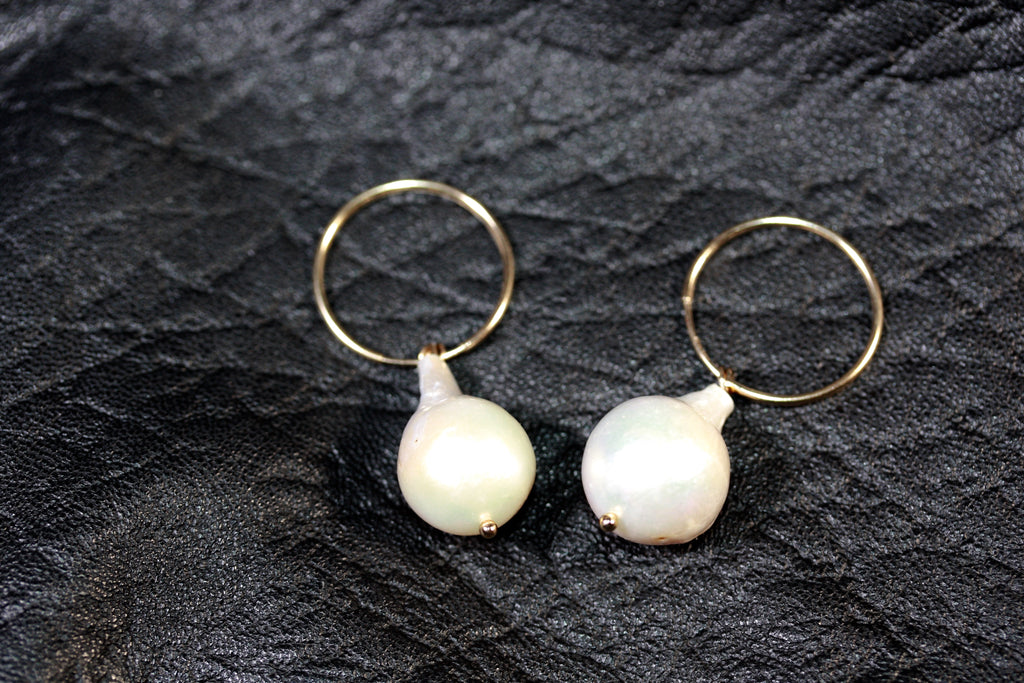 14ct Gold filled hoops Mabe Pearl Earrings Medium- SALE