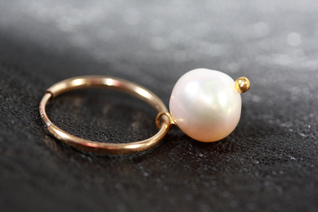 14ct Gold filled hoops Pearl Earrings small- SALE
